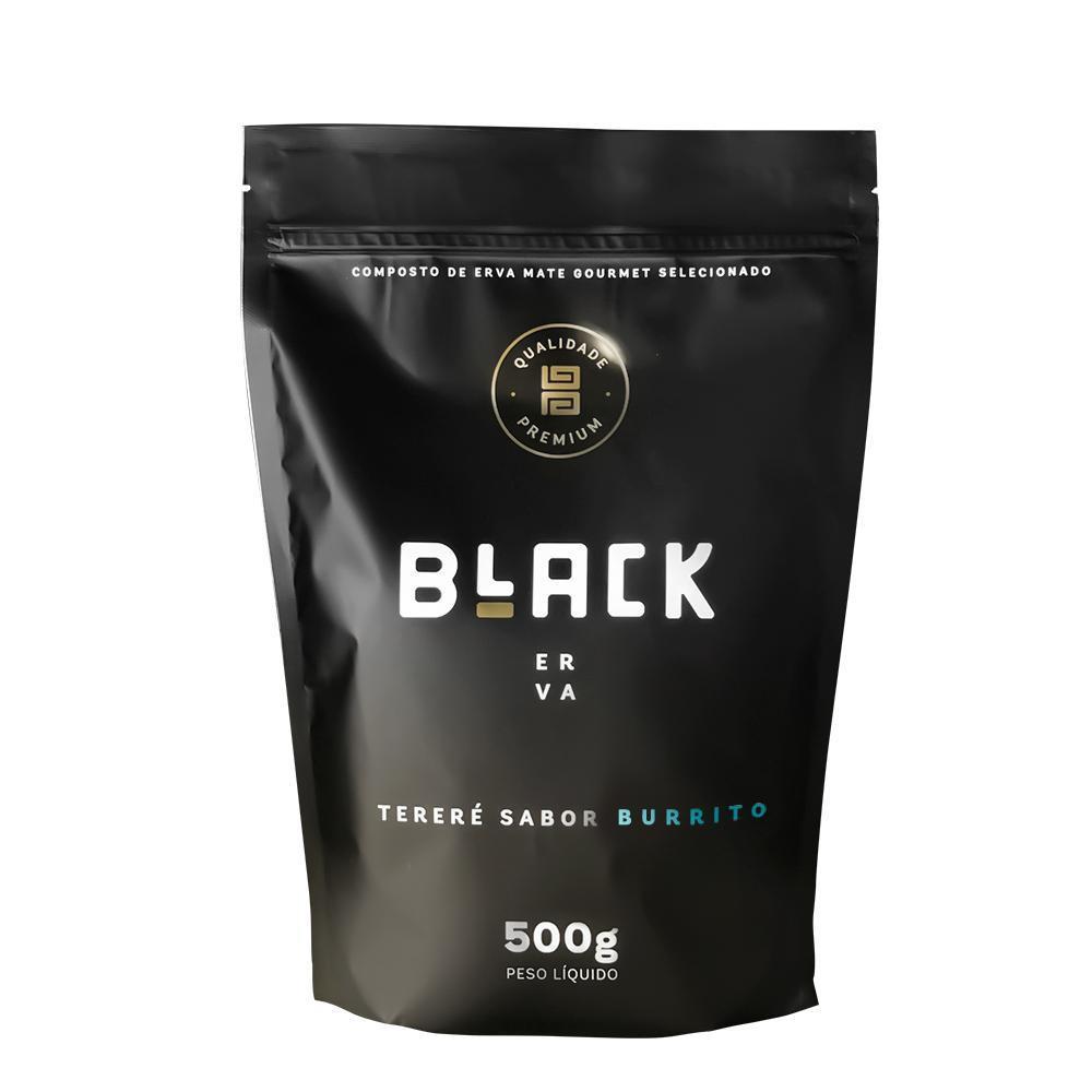 Kit Tereré Black Erva Copo Preto Tereré  Bomba Cor Preta e Burrito 500 g