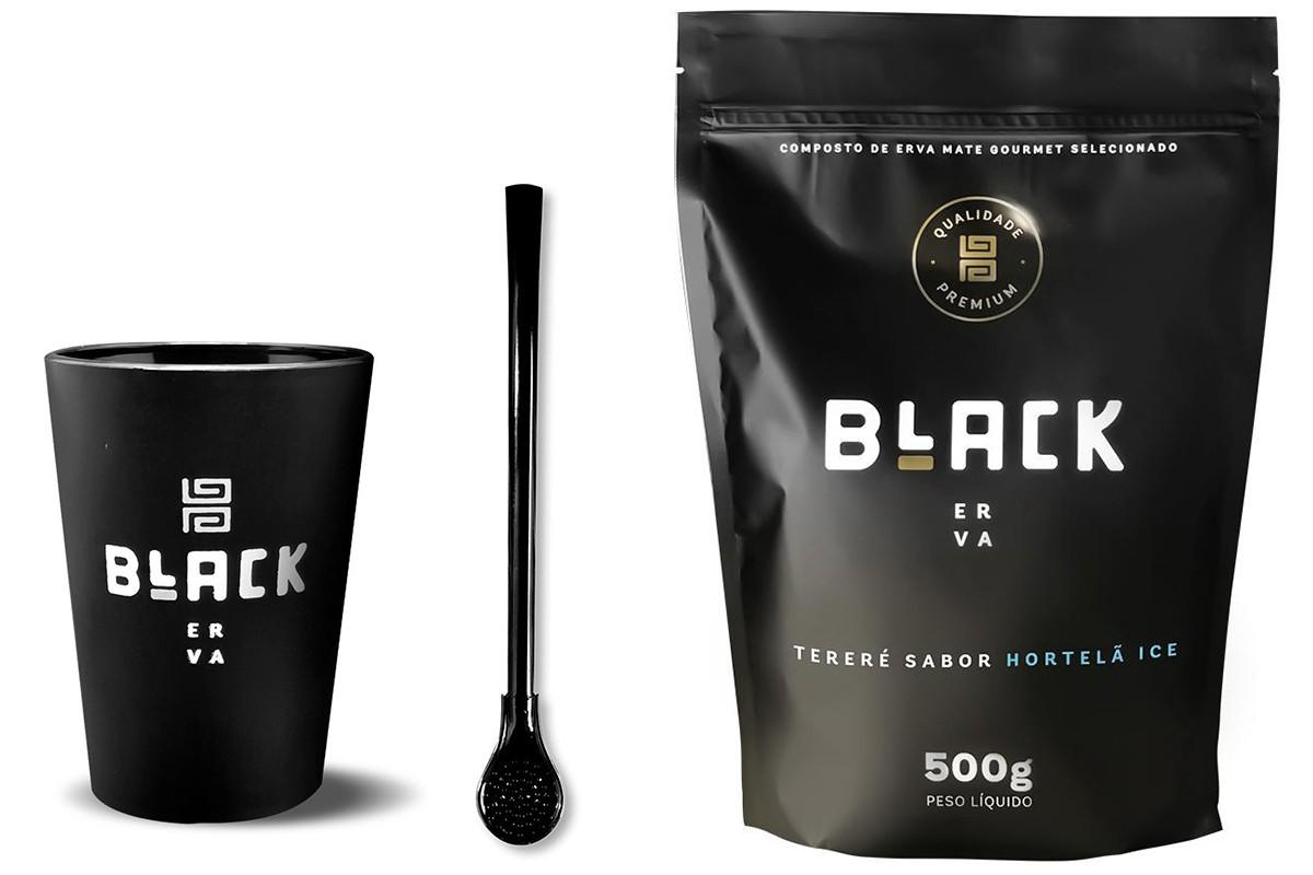 Kit Tereré Black Erva Copo Preto Tereré  Bomba Cor Preta e Hortelã Ice 500 g