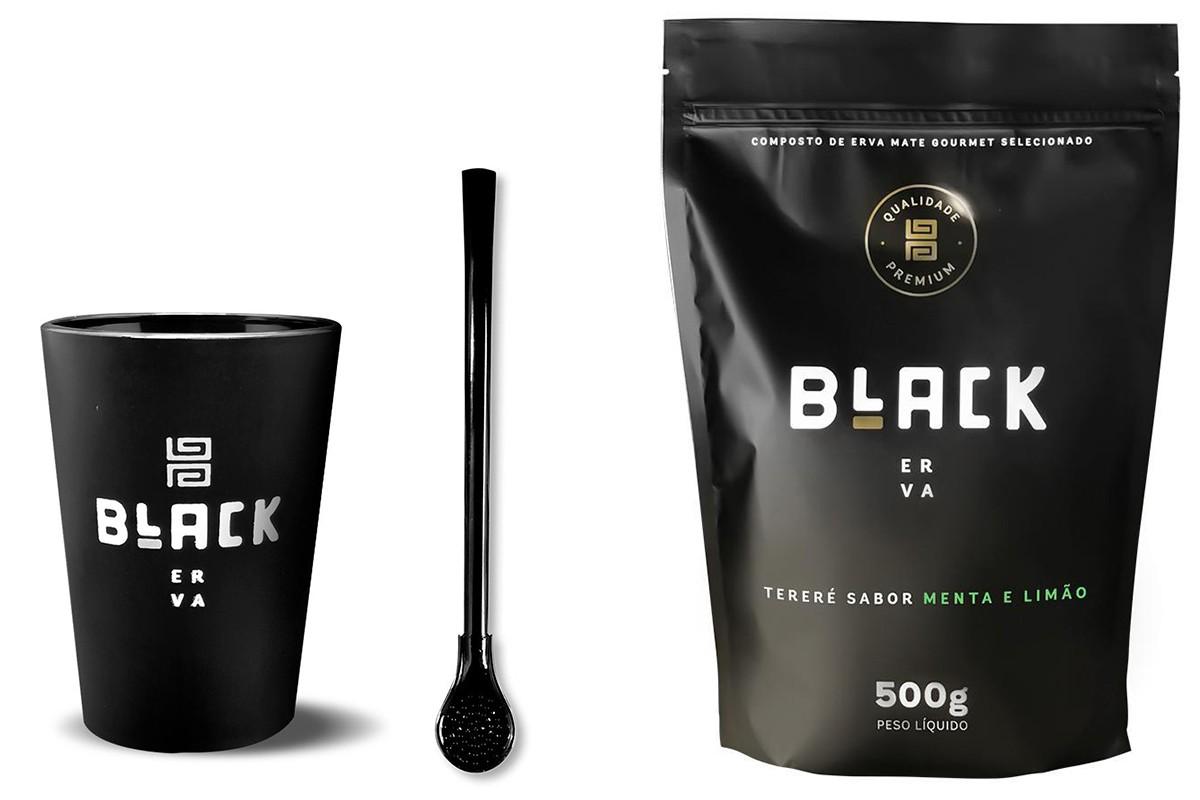 Kit Tereré Black Erva Copo Preto Tereré  Bomba Cor Preta Menta e Limão 500 g