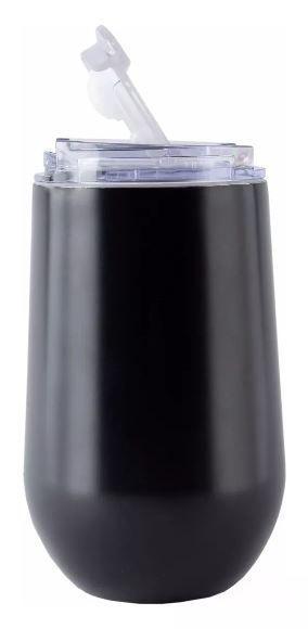Kit tereré Copo Belli Preto 450 ml e Bomba Aço Inox