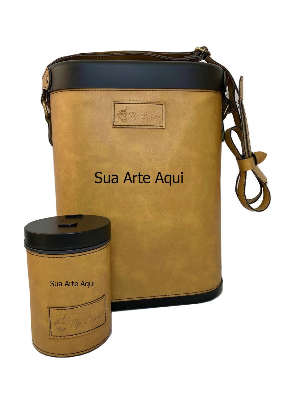 Mateira Chimarrão 1 litro e Porta erva Caramelo Personalizados