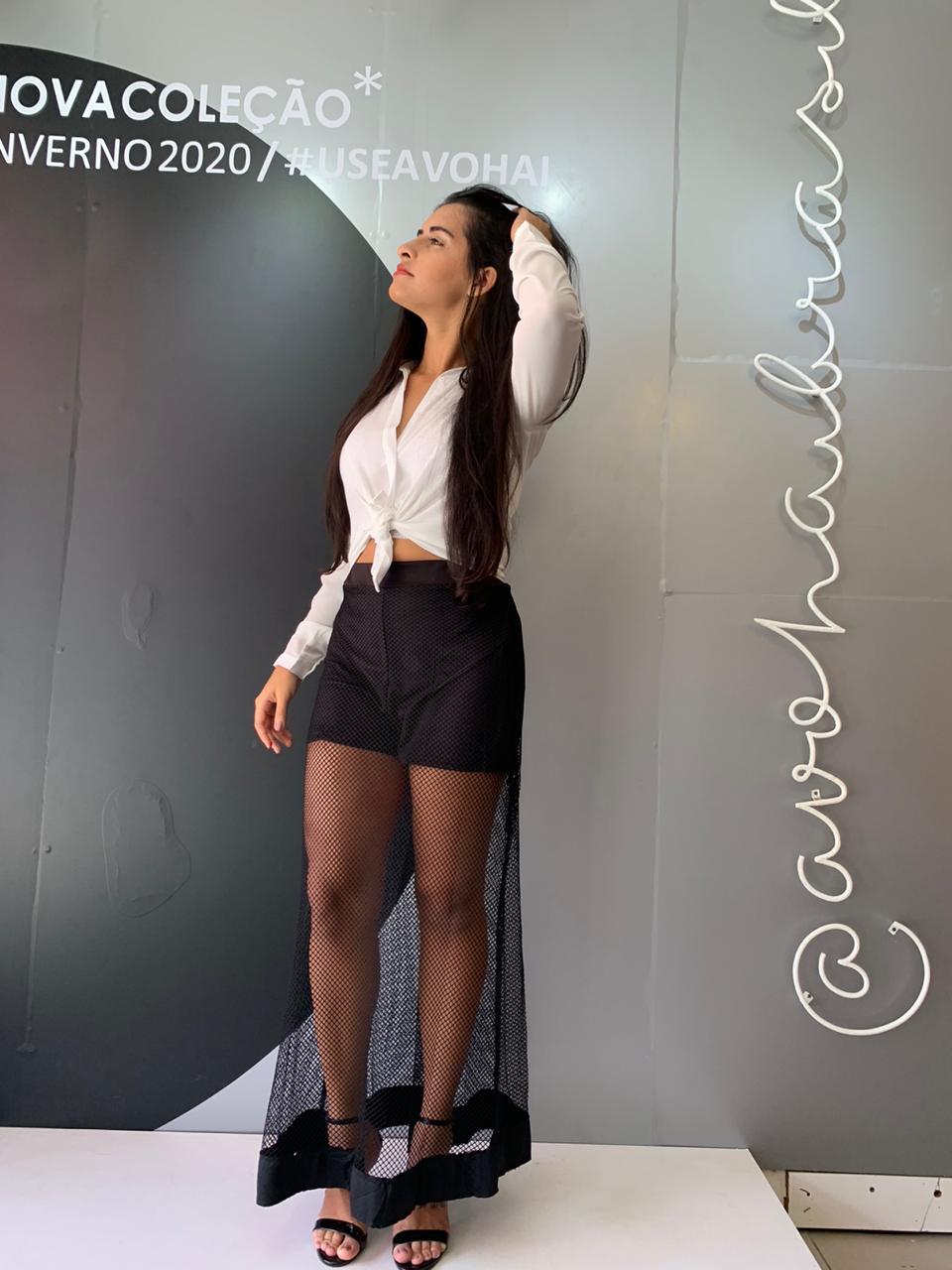 Short/Saia Lg C Tela Barrada Cód:14126