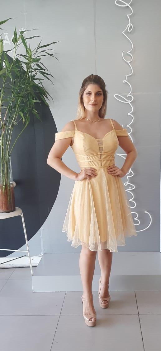 Vestido Curto  Tule c Gliter Cód:14769
