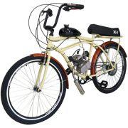 Bicicleta Motorizada 80cc Kit Motor 2 Tempos Retrô Creme
