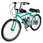 Bicicleta Motorizada 80cc Kit Motor 2 Tempos Retrô Verde