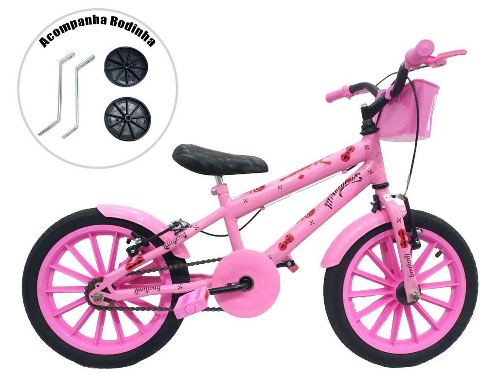 Bicicleta Infantil Aro 16 Grafitada Ladybug Miraulous