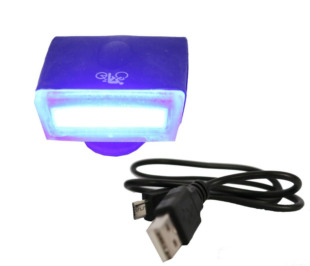 Lâmpada de Led p/ Bike/Walk Machine Carregamento USB Super Led Silicone Preto (H1089)