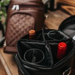 Bolsa Térmica para Vinho 4 Garrafas - Couro Ecológico  Cor Preta
