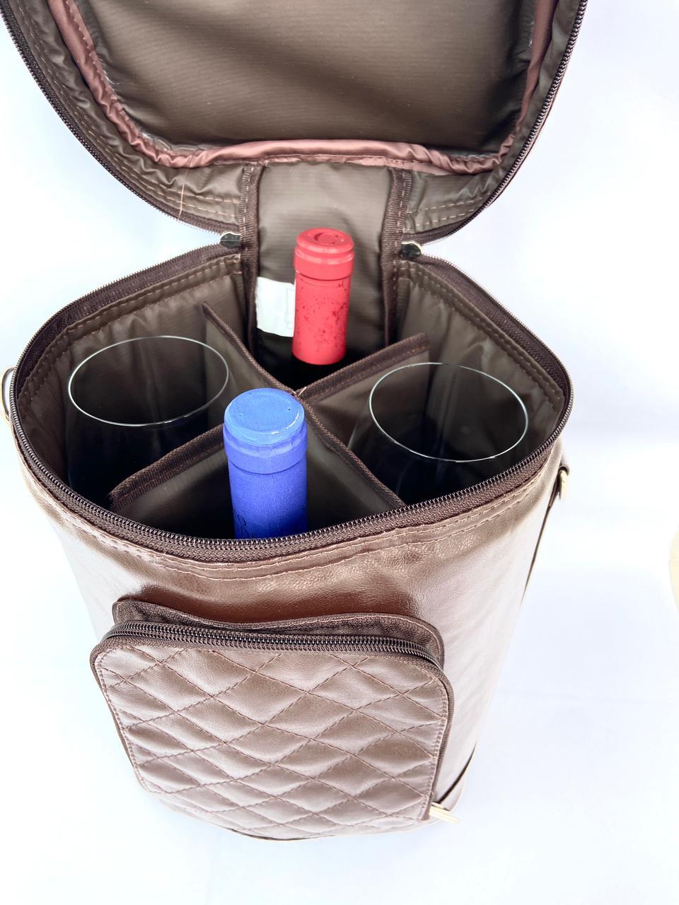 Bolsa Térmica para Vinho 4 Garrafas - Couro Ecológico