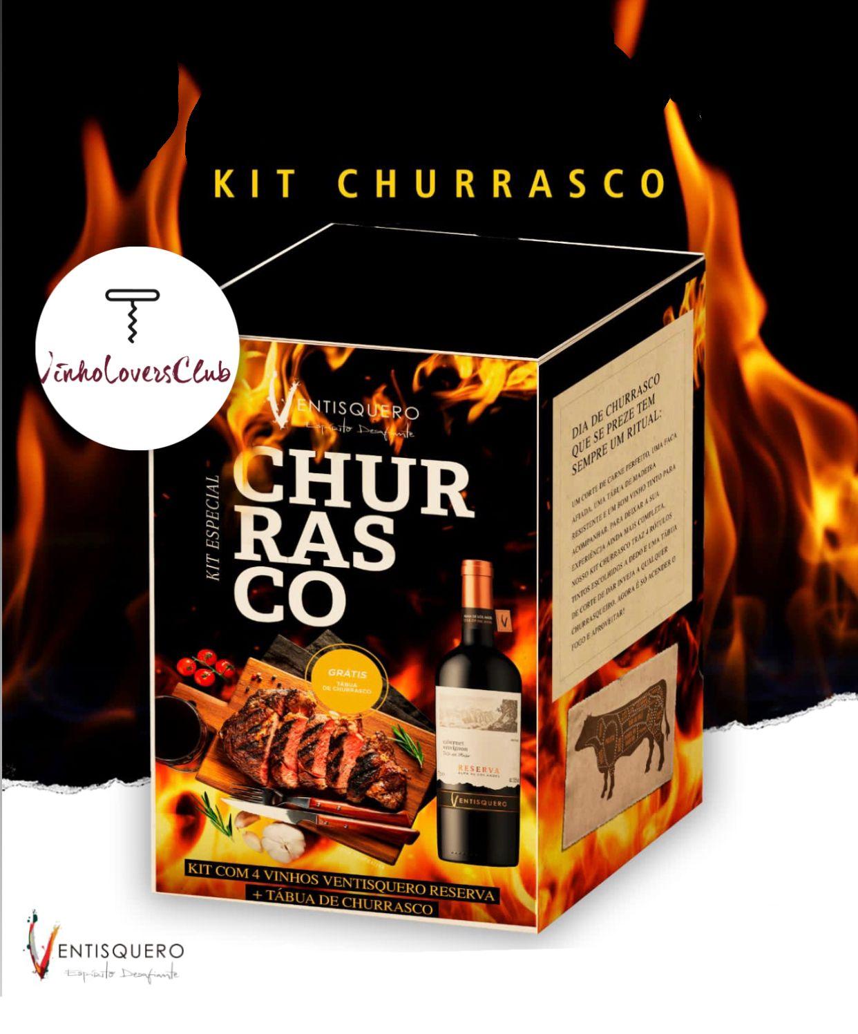 Kit Especial Churrasco Ventisquero  com 4 vinhos + tábua de churrasco