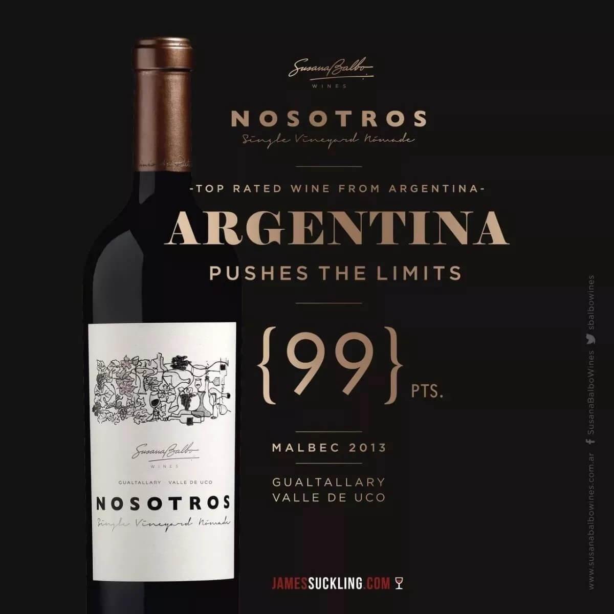Vinho Tinto Argentino Nosotros Single Vineyard Nomade 2014 Malbec