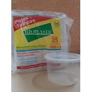 Kit Pote e Tampa 1000ml (25 unidades) - Rioplastic