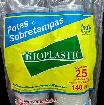 Kit Pote e Tampa 140ml (25 unidades) - Rioplastic
