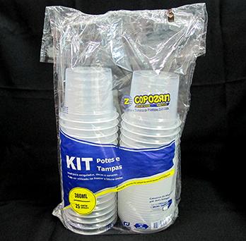 Kit Pote e Tampa 380ml 2 Pacotes com 24 unidades (48 unidades) - Copozan