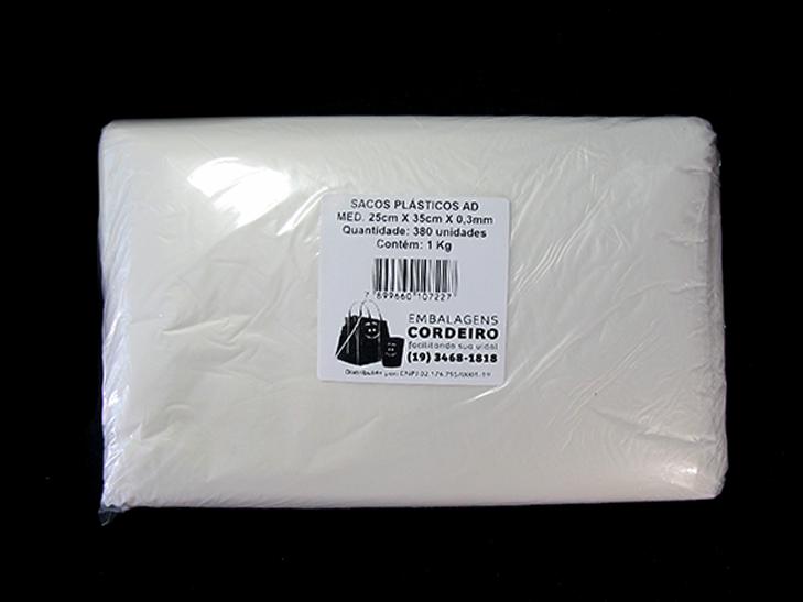 Saco AD Alta Densidade   25x35x0,003 - 1kg