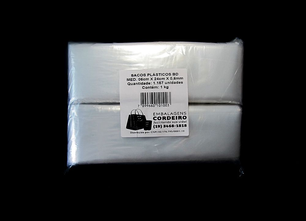 SACO BIDU Polietileno 06x24x0,006 - 1kg