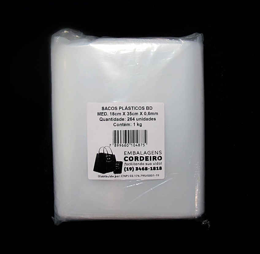 Saco BD Polietileno 18x35x0,006 - 1kg