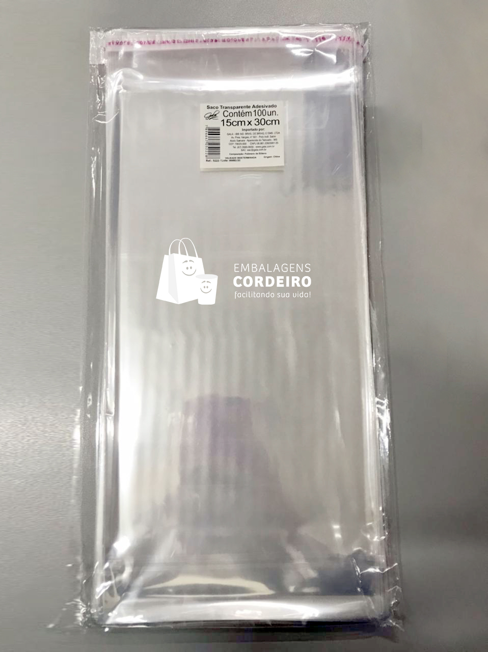 Saquinhos Transparentes com Aba adesivada 15x30cm (100 unidades)