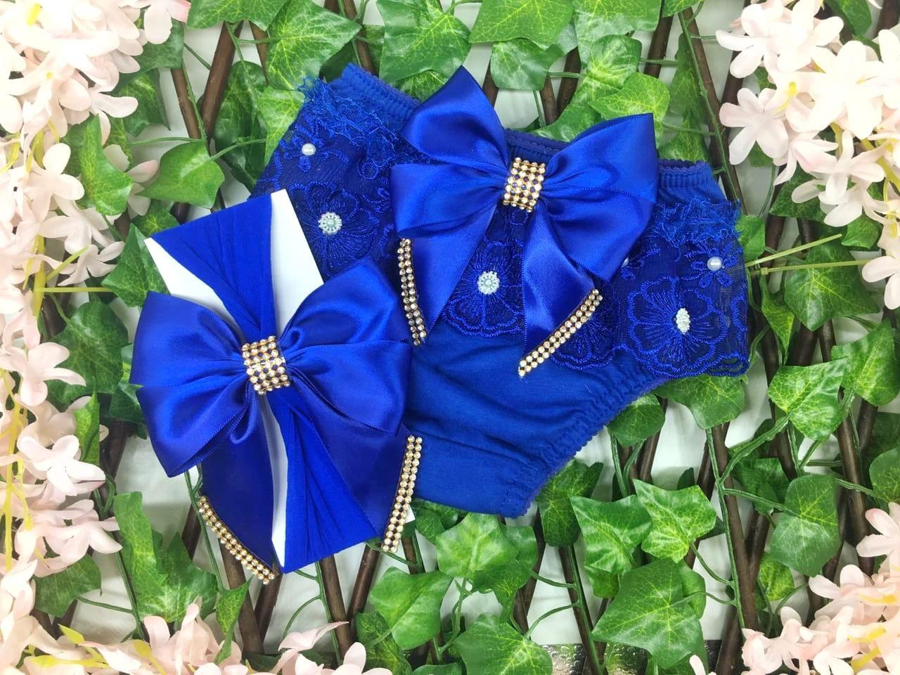 Calcinha Com Faixa Azul Royal