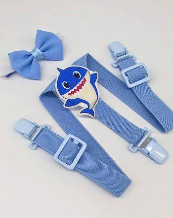 Suspensório Luxo Baby Shark Com Gravata