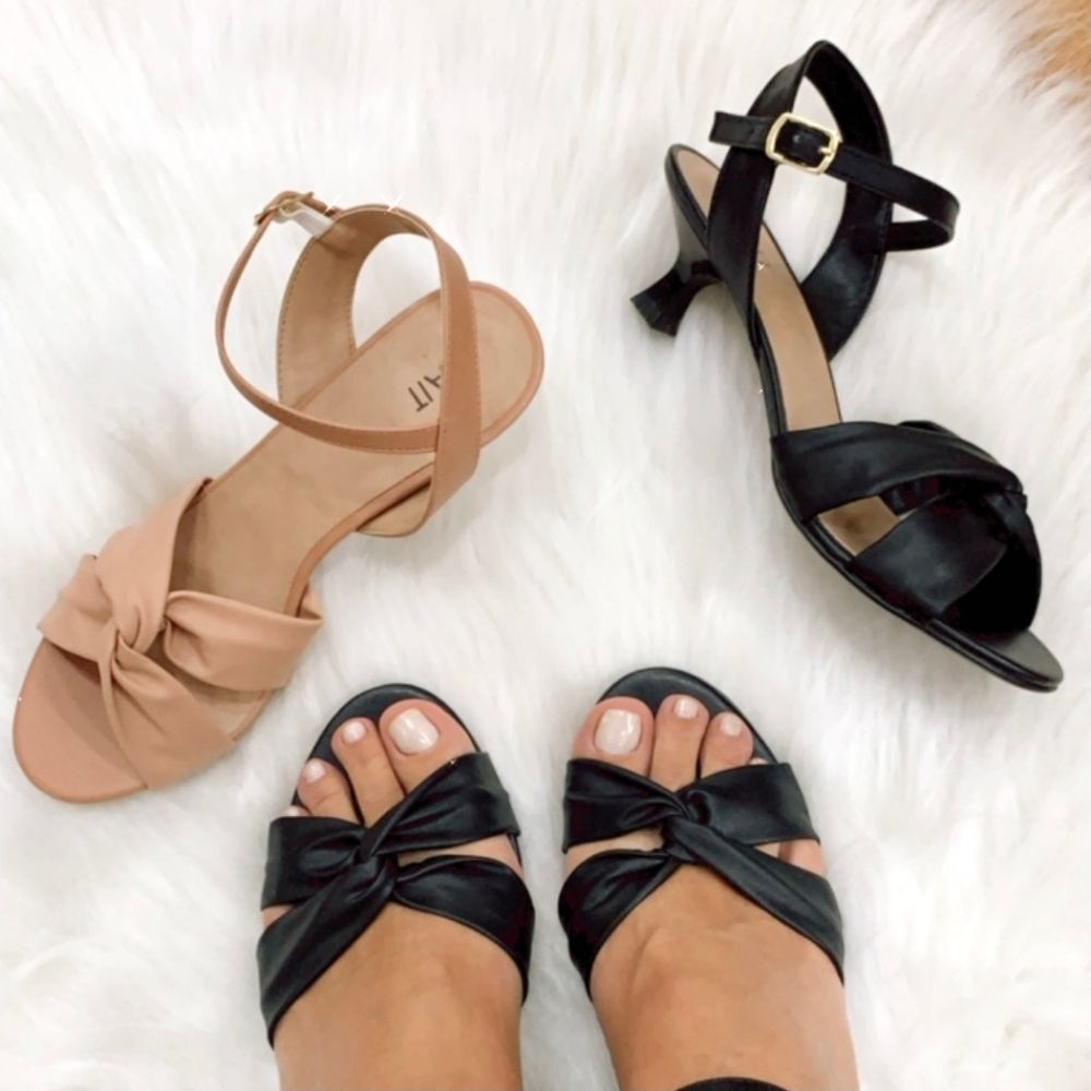 Sandália tiras macias entrelaçadas saltinho