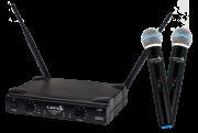 Microfone sem fio Lyco UHF duplo de mão