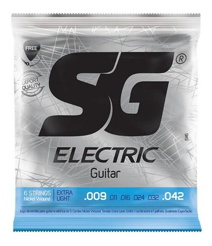 Encordoamento Guitarra Sg 009 Brinde 1 Palheta, 1 Corda Mi