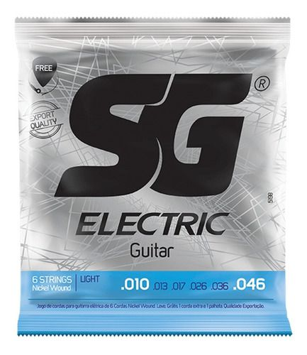 Encordoamento Guitarra Sg 010 Brinde 1 Palheta, 1 Corda Mi