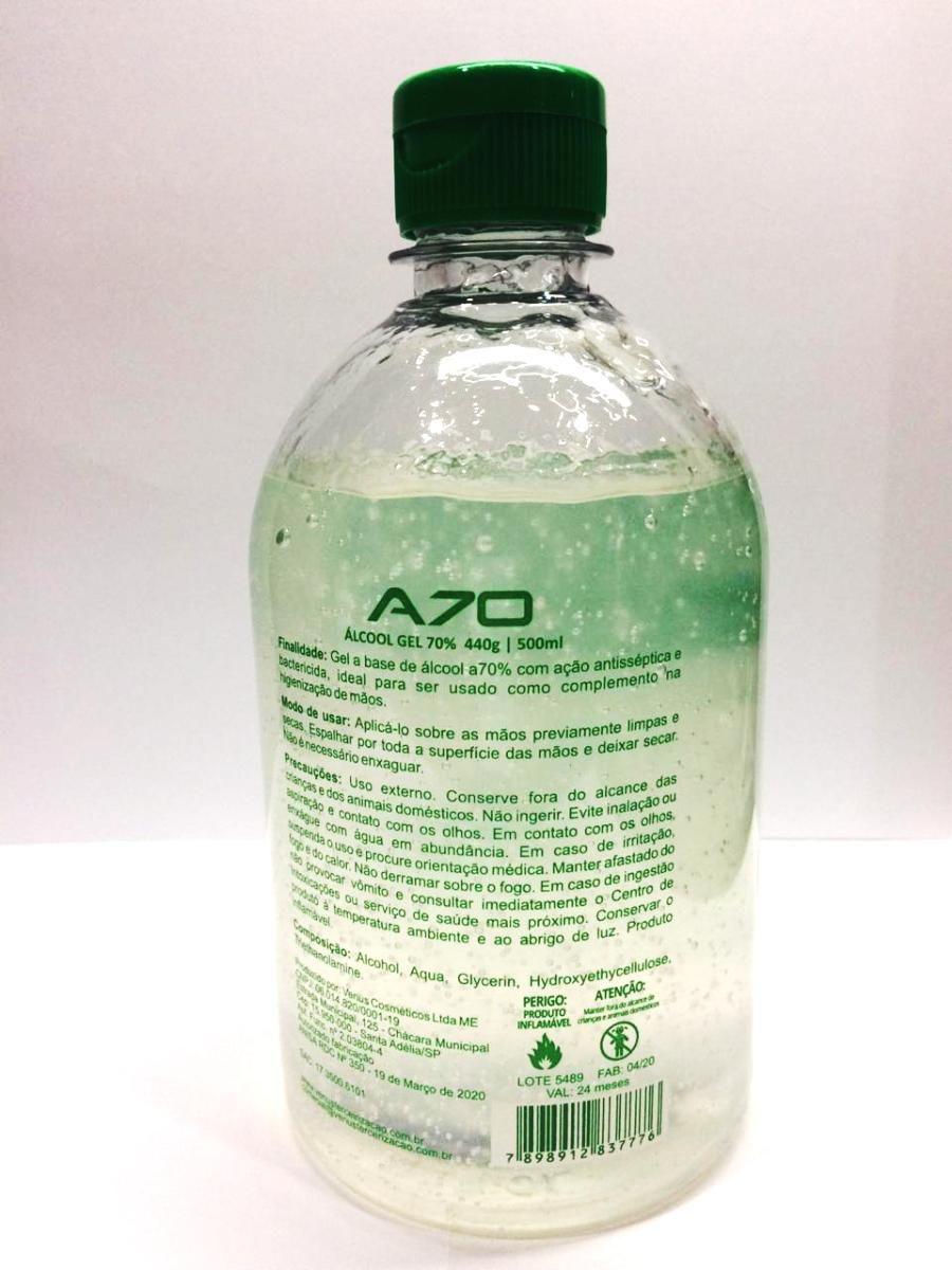Alcool Gel 70% Higienizador 500 Ml Selo Anvisa