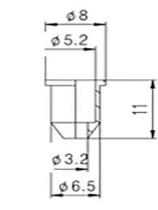 Bucha inferior para corpo de guitarra HS015 kit c/6