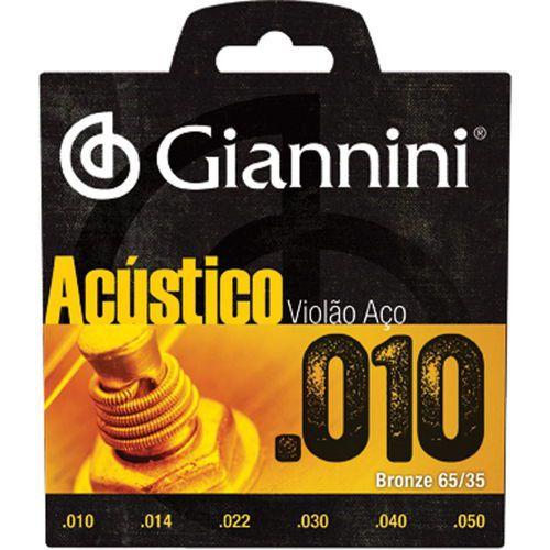 Encordoamento Giannini Acústico 010 para violão aço