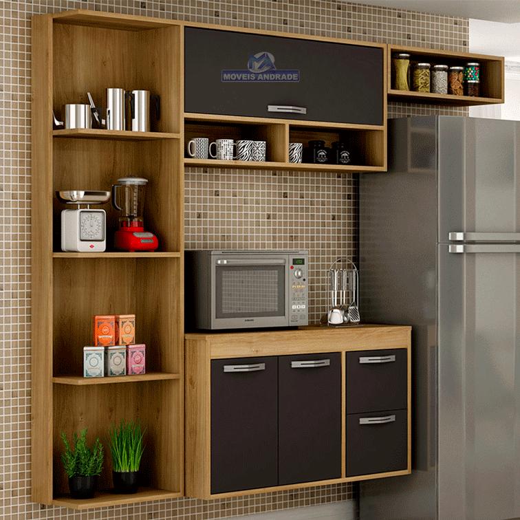 Armário de Cozinha Completa Salleto Esmeralda 3 Portas 2 Gavetas