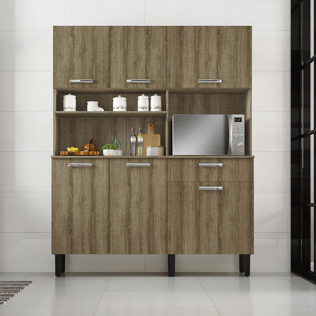 Armário de Cozinha Kit Itatiaia I1 6 Portas 1 Gaveta