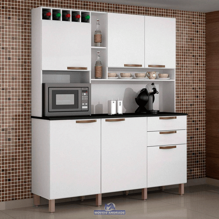 Armário de Cozinha Kit Salleto Topázio 6 Portas 2 Gavetas