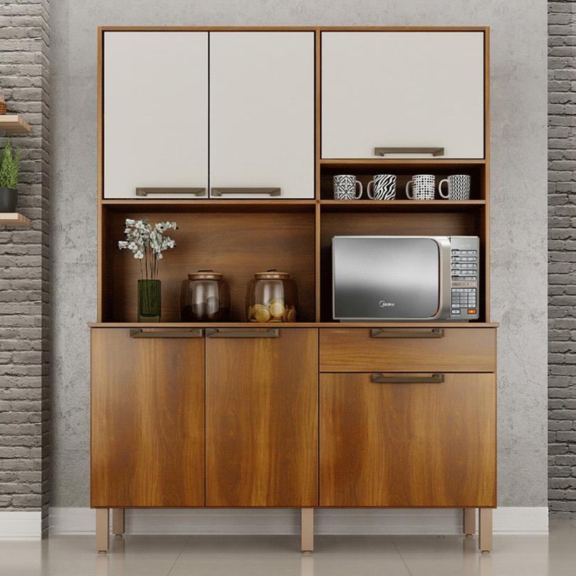 Armário de Cozinha Kit Salleto Siena 6 Portas 1 Gaveta