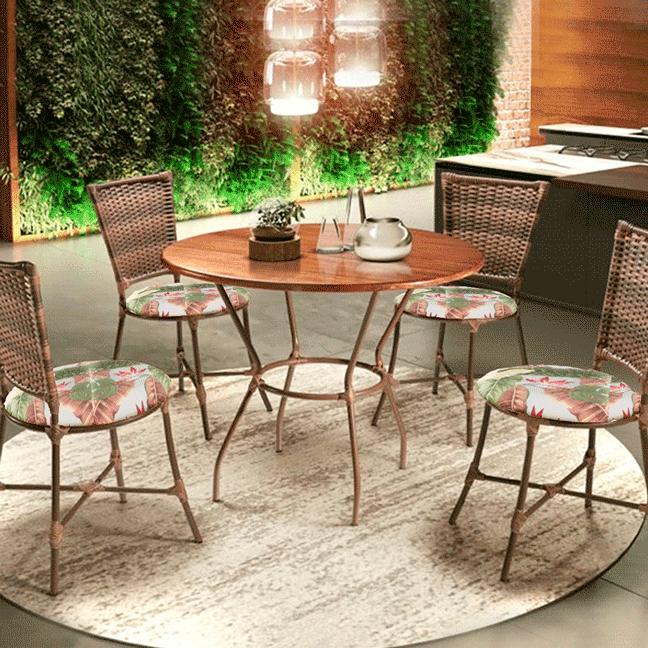 Conjunto Art Luxo Green 4 cadeiras