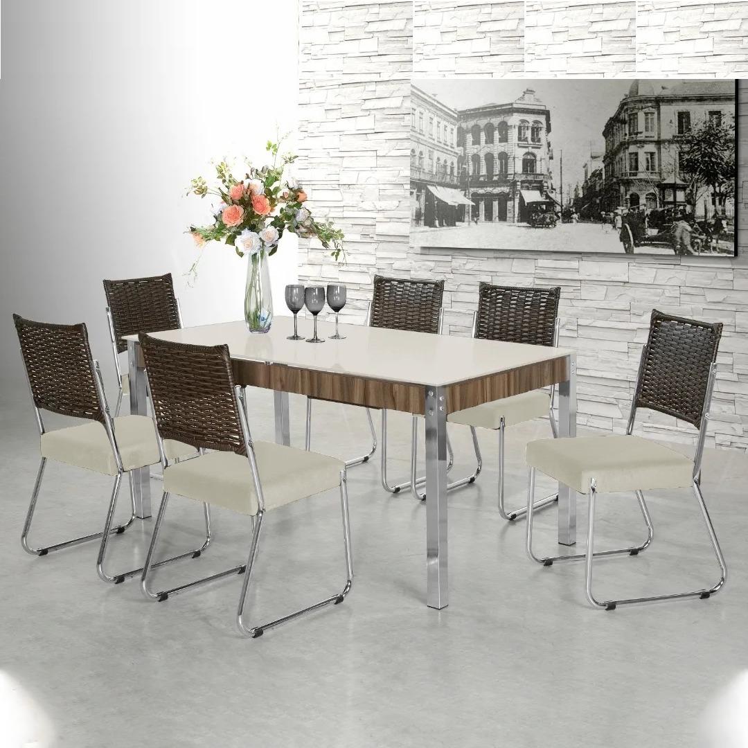 Conjunto de Mesa Aço Nobre Fascinare Tampo De Vidro 6 Cadeiras