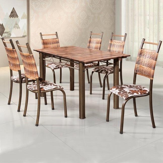 Conjunto de Mesa BM 018 Tampo de Madeira 6 Cadeiras