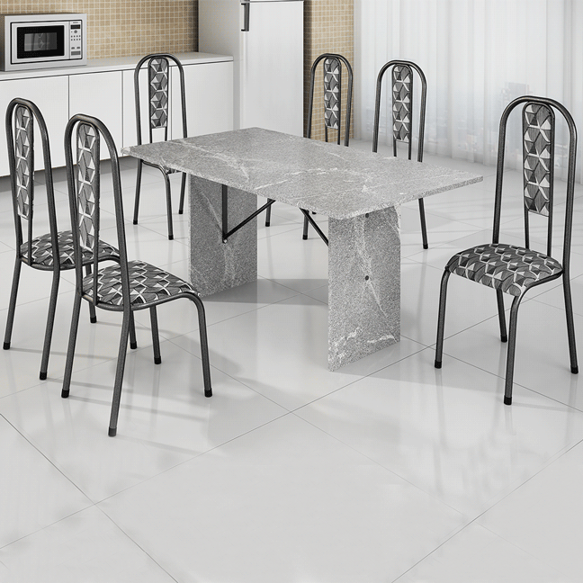 Conjunto de Mesa BM 03 Tampo de Granito 6 Cadeiras