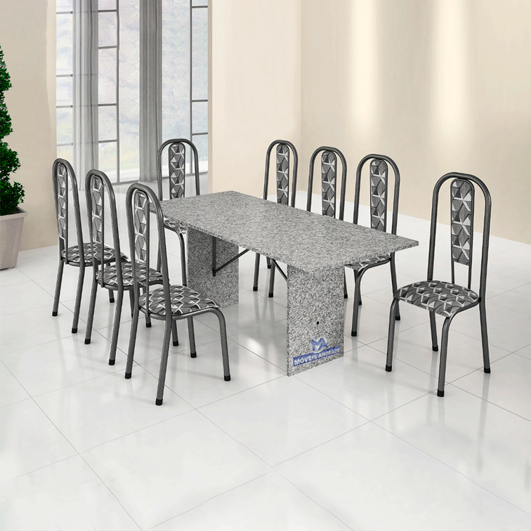 Conjunto de mesa BM 180 Tampo De Granito 8 Cadeiras