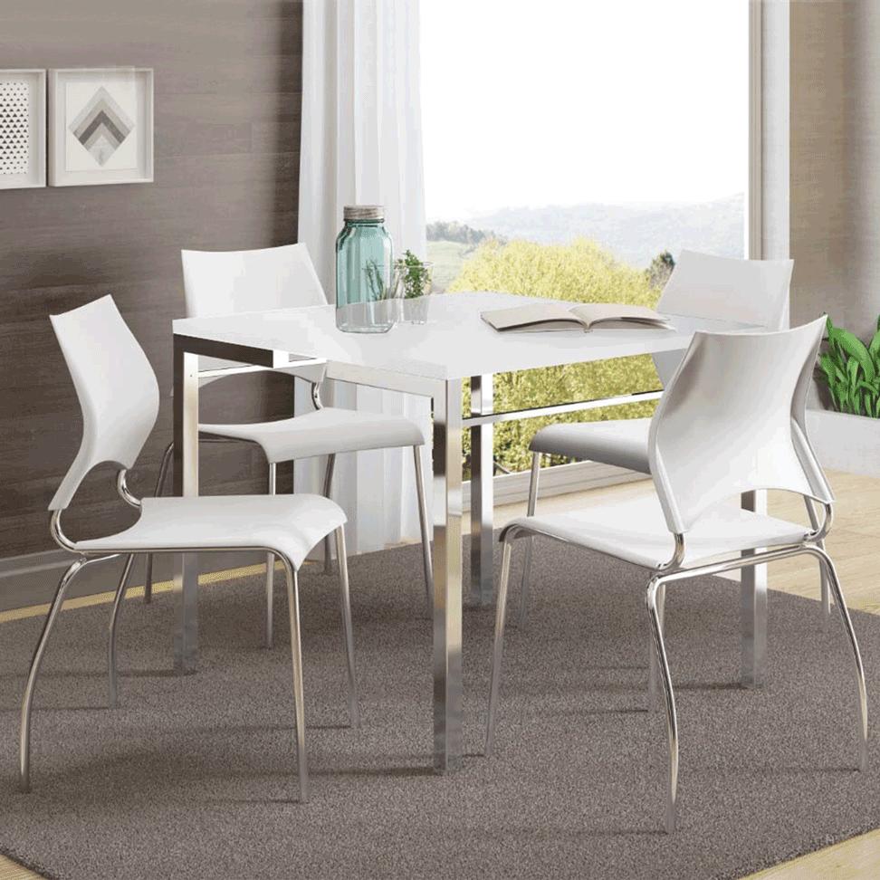 Conjunto de Mesa Carraro 4 cadeiras Branco