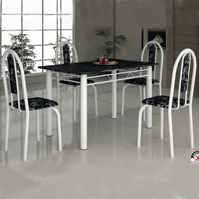 Conjunto de Mesa Soma Íris Tampo de Granito 4 Cadeiras
