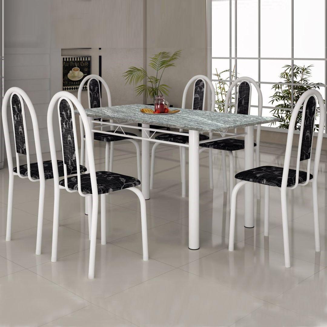 Conjunto de Mesa com 6 Cadeiras Soma Íris Tampo de Granito 140cm Retangular 010