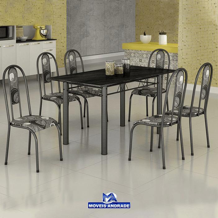 Conjunto De Mesa Madmelos 284/300 Tampo de Granito 6 Cadeiras