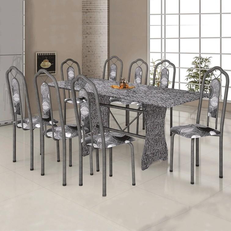 Conjunto de Mesa Soma 071 Tampo de Granito 8 Cadeiras