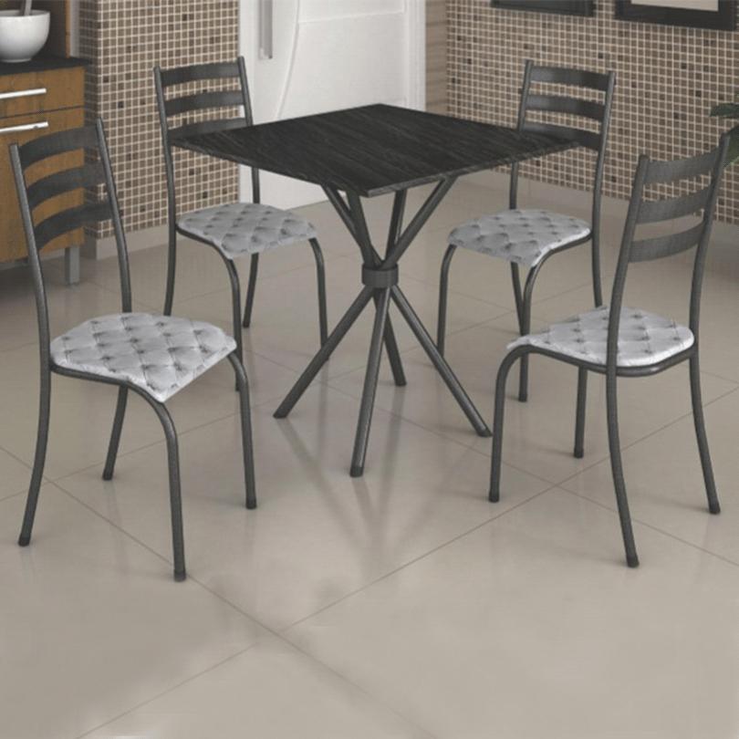 Conjunto de Mesa Madmelos 287/591 Tampo de Ardósia 4 Cadeiras