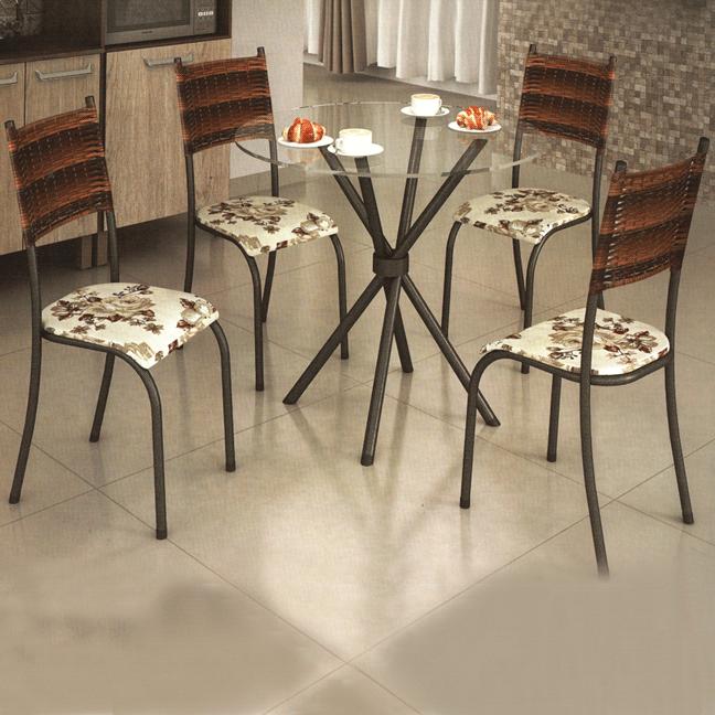 Conjunto de Mesa Madmelos 596 Tampo de Vidro 4 Cadeiras