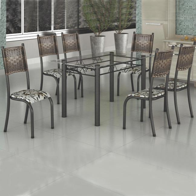 Conjunto de Mesa Madmelos 650 Tampo de Vidro 6 Cadeiras