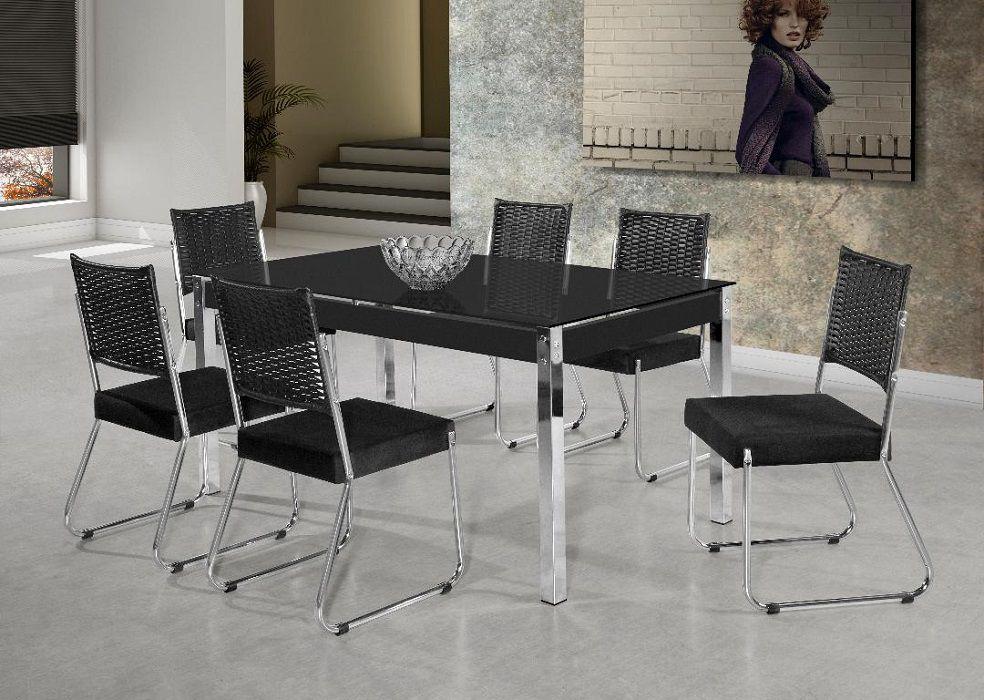 Conjunto Mesa Aço Nobre Facinare Formato 160x90 Vidro Serigrafado com 6 Cadeiras