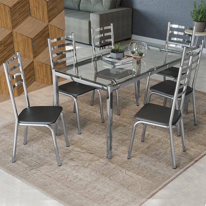 Conjunto de Mesa Kappesberg Reno Tampo de Vidro 6 cadeiras
